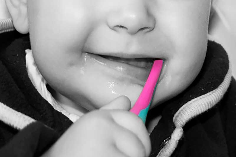 Primeros dientes de leche bebé